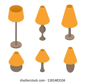 Set of table lamps. Orange light. Home electric lighting tool. Old school lampshade. Vector illustration.