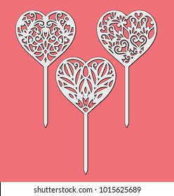 Set of the table sign toppers. Template for laser cutting, wood carving. Handmade silhouette for unique wedding pattern. Vector heart decoration for Valentine's Day.