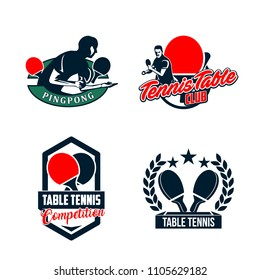 Set of table Tennis badges emblems logos with simple text designs. Sport labels vector illustration for ping pong club collection