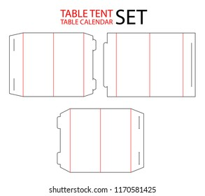 Set of table tent, calendar die cut template stamp. Vector black isolated circuit table calendar.