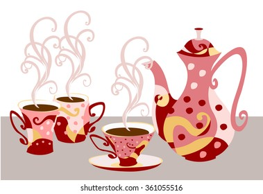 Set of tableware for tea and coffee with abstract print. Elegant teapot and cups in the style of Doodle. Fully insulated objects.