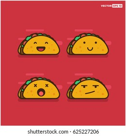 Set of Taco Line Icons Smiling Laughing Dead and Upset
