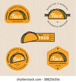 Set of taco logo, badges, banners, emblem for restaurant. Vector illustration.