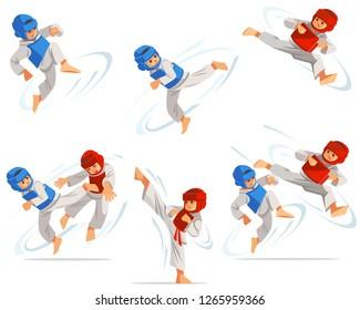 Set of taekwondo boys characters in different positions. Character set, taekwondo workout. Flat cartoon design vector illustration