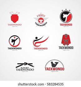 Set of Taekwondo  Logo Design Template. Vector Illustration