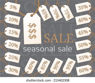 Set of tags with percent discounts from 5 to 95 for store sale
