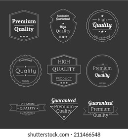 Set tags of Premium Quality and Guarantee Labels with retro vintage styled.  banner and badge high Quality.
