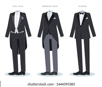 A set of tailcoat and morning coat and tuxedo.It's vector art so it's easy to edit.