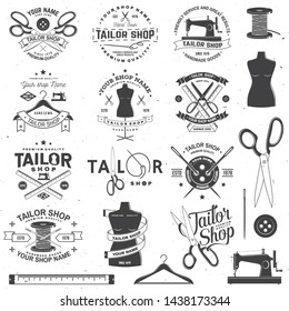 Set of tailor shop badges. Vector illustration Concept for shirt, print, stamp label or tee. Vintage typography design with sewing needle and scissors silhouette. Retro design for sewing shop business