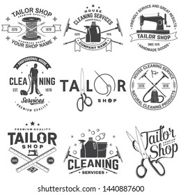 Set of tailor shop, cleaning company badges. Vector. Concept for shirt, print. Typography design with sewing, cleaning equipments silhouette. Retro design for sewing shop, cleaning service business
