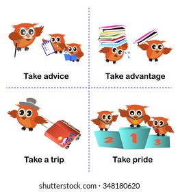 set of take activities, How to use take for kids. advice. advantage. a trip. pride. vector background