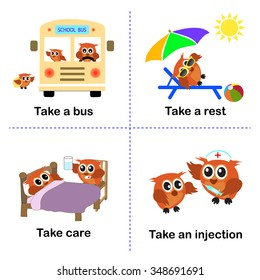 set of take activities, How to use take for kids. a bus. a rest. care. an injection. vector background