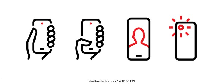 Set of Take, Push on Phone, Selfie, Camera Phone Multi-Cameras icons. Editable line vector. The sign module of a person holds the device, makes a portrait and the rays flash red. Group pictogram.