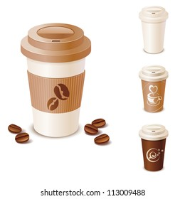 Set of takeaway coffee cups