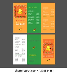 Set of take-out brochure templates for restaurant. Mexican food menu, advertisement flyer. Design idea with letterhead. Easy to edit text symbol element. Hot spicy kitchen icon. Vector illustration