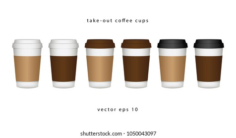 Set of take-out coffee, paper Kraft cup, different color tone and blank label isolated on white vector illustration