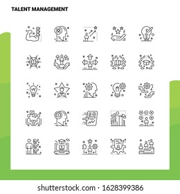 Set of Talent Management Line Icon set 25 Icons. Vector Minimalism Style Design Black Icons Set. Linear pictogram pack.