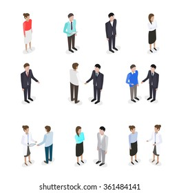 Set of talking business people in isometric style vector illustration
