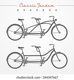 Set of tandem bicycles in silhouette style. Detailed classic tandem bicycle. Two tandem bicycles with different frames. Tandem bicycle stock vector illustration.