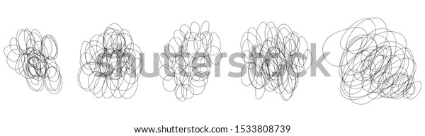 Set Tangled Grungy Round Scribbles Hand Stock Vector Royalty Free 1533808739