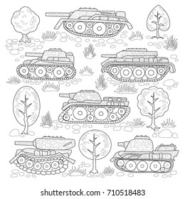 Set of tanks with camouflage and elements of nature; trees, stones, grass. Coloring page.