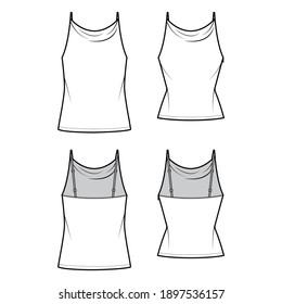 Set of Tanks high cowl Camisoles technical fashion illustration with empire seam, thin adjustable straps, tunic length, slim or oversized fit. Flat top template front back. Women men unisex CAD mockup