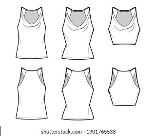 Set of Tanks low cowl Crop Camisoles technical fashion illustration with thin adjustable straps, slim, oversized fit, waist, crop length. Flat outwear top template front, back. Women men CAD mockup