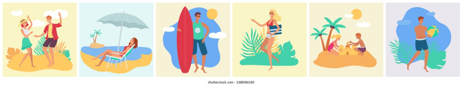 A set of tanned people, men, women and children rest in the summer on a tropical beach on vacation or on holiday. Tropical summer holiday concept set, vector flat beach illustration with people.