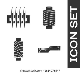 Set Tape measure, Needle for sewing, Sewing thread on spool and Sewing thread on spool icon. Vector
