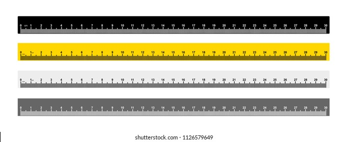 Set of tape ruler metric measurement. Metric ruler. 30 centimeters metric ruler with black, yellow and gray color. Vector illustration. Isolated on white background