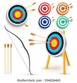Set of target with 3 arrows. Dart arrow hitting center target on white background, flat vector illustration