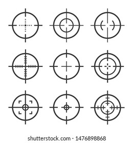 Set of target aim icons. collection of sniper scope and shooting target vector icon