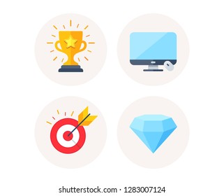 Set of Target goal, Computer display and Winner cup icons. Diamond crystal sign. Marketing strategy, Monitor device, Trophy award. Brilliant gemstone. Colorful icons in round buttons. Vector