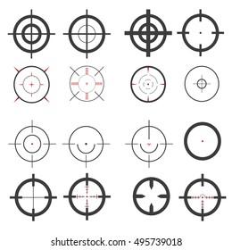 Set, target icons, sniper scope. Stylish vector illustration for web design