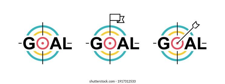 Set target line icon. Goal concept. Marketing targeting strategy symbol. Logo design. Vector illustration.