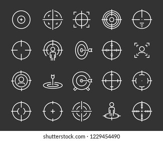 set of target line icons such as aim, hunting, accuracy