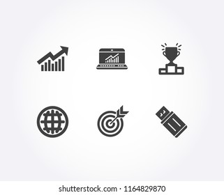 Set of Target, Winner podium and Demand curve icons. Online statistics, Globe and Usb flash signs. Targeting, Competition results, Statistical report. Computer data, Internet world, Memory stick