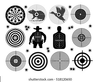Set of targets shoot gun aim animals people man isolated. Sport Practice Training. Sight, bullet holes. Targets for shooting. Darts board, archery. vector illustration.