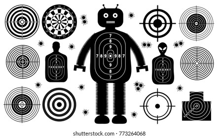 Set of targets shoot gun aim people man isolated. Sport Practice Training. Sight, bullet holes. Targets for shooting. Darts board, archery. vector illustration.