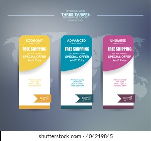 Set tariffs. set of vertical tariffs for your product, flat interface for website or app. Pastel pricing table, banner, order, box, button, list and bullet with plan for website in flat design