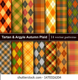 Set  Tartan and Argyle  Seamless Pattern Background. Autumn color panel Plaid, Tartan Flannel Shirt Patterns. Trendy Fall Tiles Vector Illustration for Wallpapers.