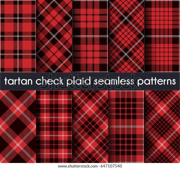 シームレスなパターンの背景にタータンチェックを設定します 赤 白黒の格子柄 タータンのフランネルシャツの柄 壁紙 用のトレンディタイルベクターイラスト 1から5の間で交差する帯 のベクター画像素材 ロイヤリティフリー