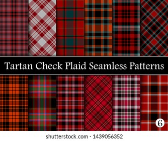Set  Tartan Plaid Scottish Seamless Pattern. Texture from tartan, plaid, tablecloths, shirts, clothes, dresses, bedding, blankets and other textile. Vol 06