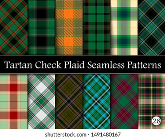 Set Tartan Plaid Scottish Seamless Pattern. Texture from tartan, plaid, tablecloths, shirts, clothes, dresses, bedding, blankets and other textile. Vol 28