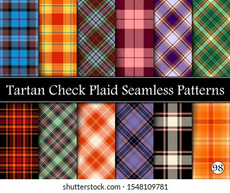 Set Tartan Plaid Scottish Seamless Pattern. Texture from tartan, plaid, tablecloths, shirts, clothes, dresses, bedding, blankets and other textile. Vol 98