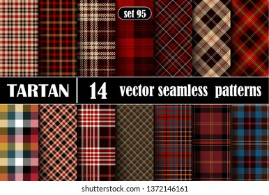 Set Tartan Seamless Pattern. Tartan Plaid Inspired Background. Suits for Decorative Paper, Fashion Design and House Interior Design, as Well as for Hand Crafts and DIY