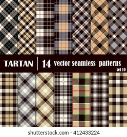 Set Tartan Seamless Pattern. Trendy Illustration for Wallpapers. Seamless Tartan Tiles. Suits for Decorative Paper, Fashion Design and House Interior Design, as Well as for Hand Crafts