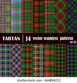 Set Tartan Seamless Pattern. Trendy Vector Illustration for Wallpapers. Seamless Tartan Tiles. Suits for Decorative Paper, Fashion Design and House Interior Design, as Well as for Hand Crafts
