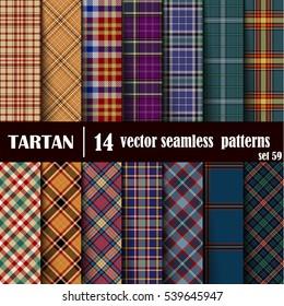 Set Tartan Seamless Pattern. Trendy Vector Illustration for Wallpapers. Seamless Tartan Tiles. Traditional Scottish Ornament. Plaid Inspired Background.