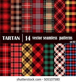 Set Tartan Seamless Pattern.Trendy Illustration for Wallpapers.Tartan Plaid Inspired Background. Suits for Decorative Paper, Fashion Design and House Interior Design, as Well  for Hand Crafts and DIY.